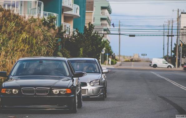 Picture bmw, BMW, subaru, black, impreza, e38, bimmer