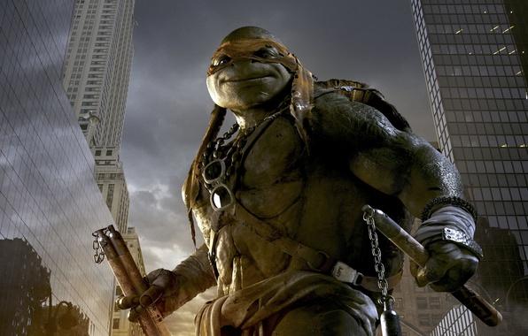 Picture City, Orange, Action, Fantasy, Clouds, Sky, Green, Sun, with, TMNT, Wallpaper, Teenage Mutant Ninja Turtles, …