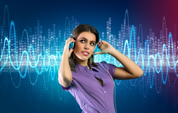 Picture girl, music, background, music, headphones, girl, headphones, background, ringtones, ringtones