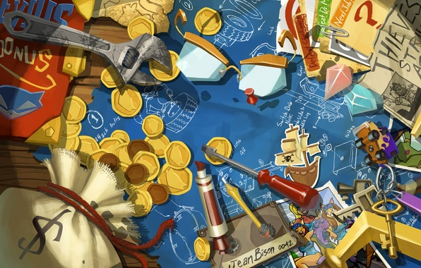 Picture photo, money, scheme, key, art, crystals, coins, keys, screwdriver, Thieves in Time, Sly Cooper, spanner