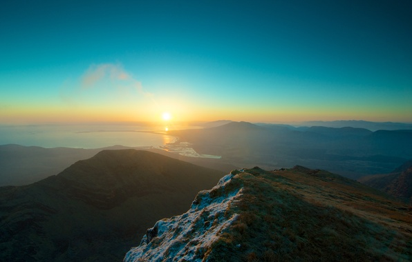 Picture Sunset, The sun, The sky, Water, The ocean, Mountains, Grass, Snow, Horizon