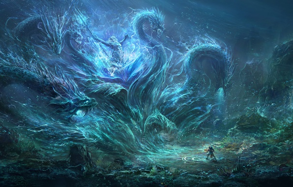 Picture people, monster, Trident, monster, Neptune, the bottom of the sea, The sea monster, Wang Nan