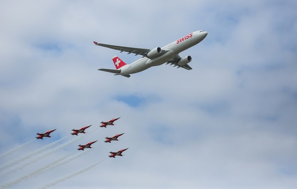 Picture the sky, clouds, the plane, Switzerland, parade, Airbus, The A350