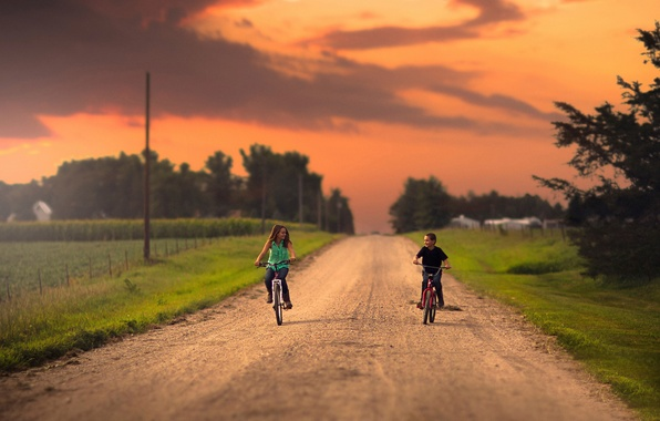 Picture road, boy, girl, bikes