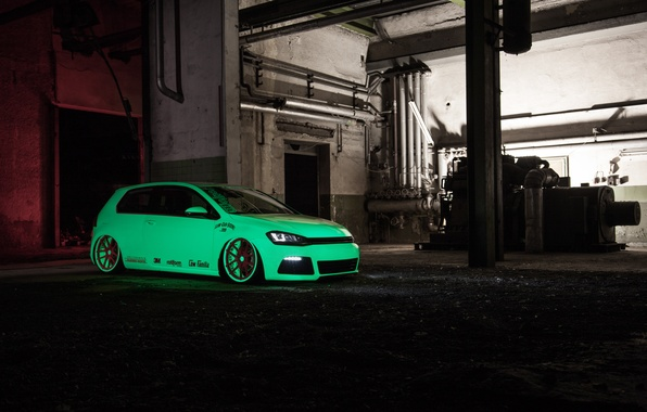 Picture green, Volkswagen, Light, tuning, Tron, Golf, VII