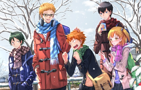 Picture winter, girl, snow, trees, anime, art, guys, swordsouls, hinata shouyou, haikyuu!!, tsukishima kei, yacht heaters …