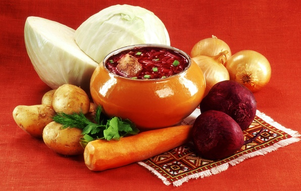 Picture bow, vegetables, carrots, cabbage, soup, pot, potatoes, beets