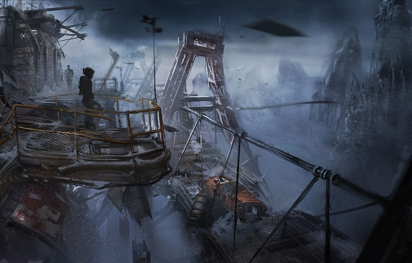 Picture Bridge, Snow, Mountain, The building, Armor, Art, Technique, Isaac Clarke, Electronic Arts, Dead Space 3, …