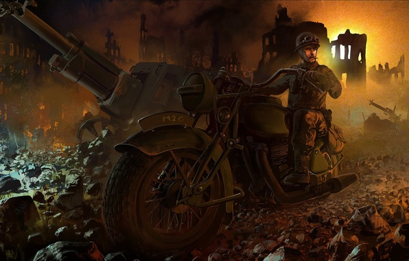 Picture the city, war, art, racer, as, destroyed, scout, Ghost, gun, WW2., part, Scout, racing, motorcycle, …