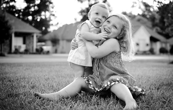 Picture joy, happiness, children, photo, mood, girl, black and white, kids, smile, hug
