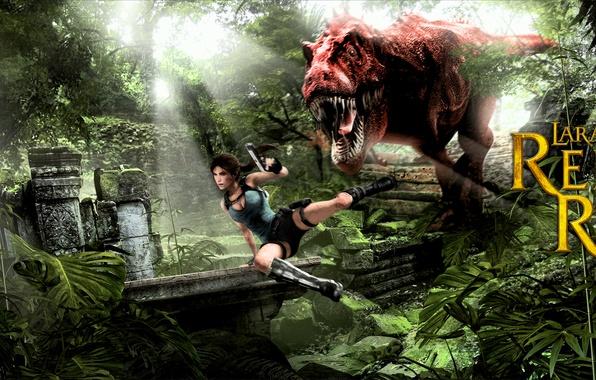 Picture girl, dinosaur, jungle, lara croft, tomb raider, Tyrannosaurus rex, T. rex