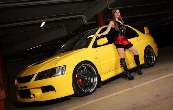 Picture girl, Mitsubishi, Parking, lancer, yellow Lancer