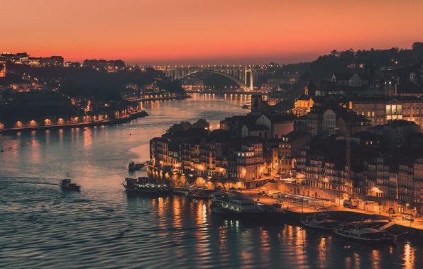 Picture bridge, the city, lights, river, the evening, channel, Portugal, Port