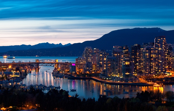Picture sea, the sky, landscape, mountains, bridge, the city, home, ships, the evening, port, panorama, vancouver …