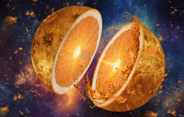 Picture the explosion, rendering, surrealism, planet, orange, Space