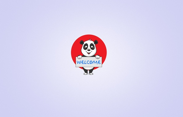 Picture smile, the inscription, plate, minimalism, Panda, light background, welcome, panda, the red circle, welcome