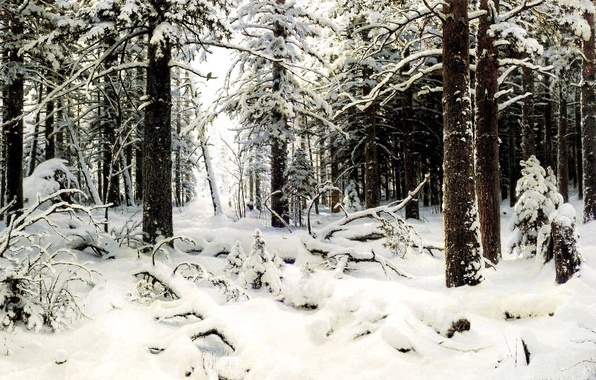 Picture cold, forest, snow, trees, Winter, picture, painting, Shishkin