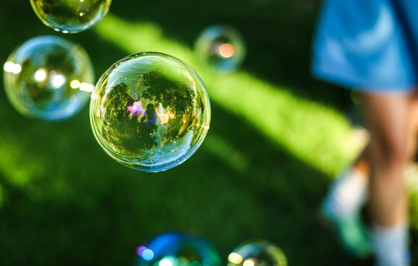 Picture bubbles, bubbles, grass, reflection, soap, outdoors