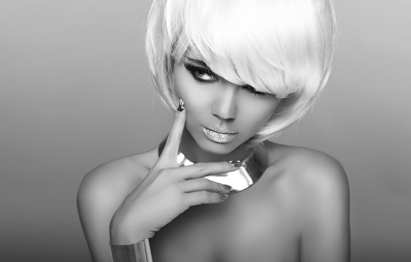 Picture look, girl, photo, model, black and white, hand, makeup, lips, shoulders, white hair