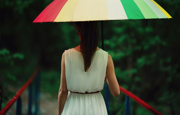 Picture Girl Bridge Umbrella Background Rain Wallpaper Mood Blur