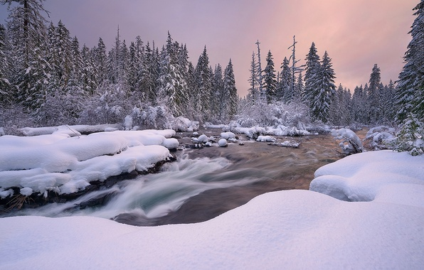Picture winter, snow, landscape, sunset, nature, river, ate