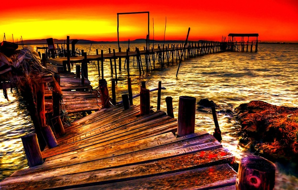 Picture WATER, HORIZON, The SKY, PIER, SUNSET, DAL, DAWN