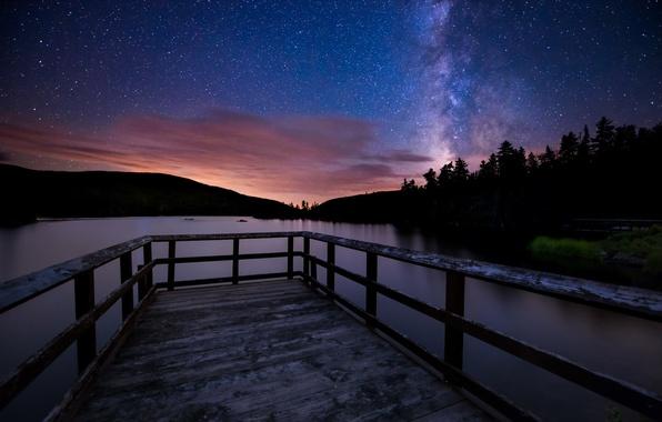 Picture landscape, night, bridge, lake