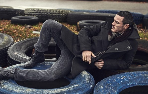 Picture male, tires, coat, Luke Evans, luke evans