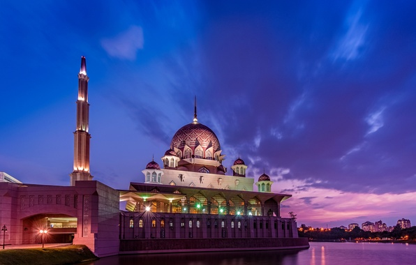 Picture the sky, clouds, sunset, clouds, lights, Strait, the evening, lighting, mosque, purple, sky, sunset, clouds, …