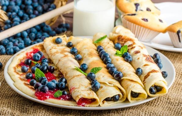 Picture berries, milk, blueberries, jam, cupcakes, milk, pancakes, baking, Blueberries, Pancake