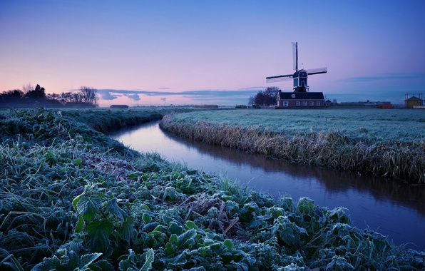 Picture winter, frost, field, the sky, trees, dawn, morning, mill, Netherlands, blue, lilac