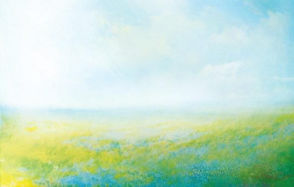 Picture summer, the sky, grass, clouds, flowers, nature, the wind, meadow