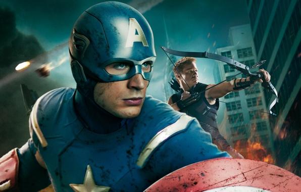 Picture fiction, costume, helmet, shield, Archer, comic, Captain America, Chris Evans, Jeremy Renner, MARVEL, The Avengers, …
