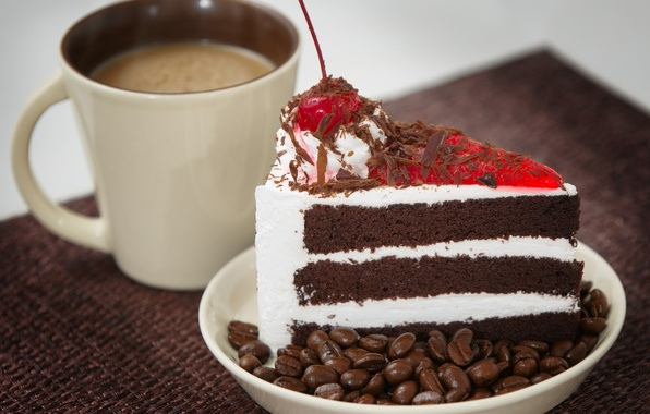 Picture coffee, Cup, cake, cherry, cream, piece