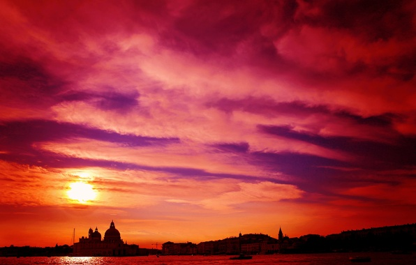 Picture the sky, clouds, sunset, the city, home, Italy, Venice, Cathedral, channel, glow