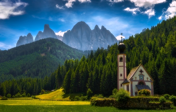 Picture forest, mountains, meadow, Italy, Church, Italy, The Dolomites, South Tyrol, South Tyrol, Dolomites, Funes, Santa …
