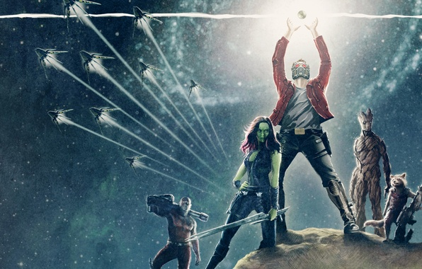 Picture fan art, Rocket, Star-Lord, Guardians of the Galaxy, Gamora, Groot, Drax the Destroyer