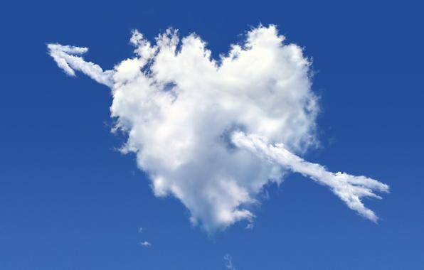 Picture the sky, rendering, heart, cloud, arrow