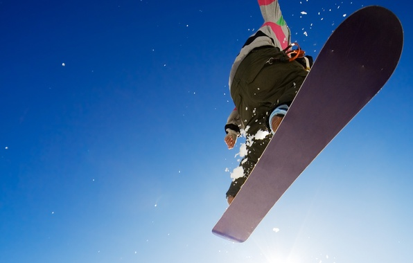 Picture winter, the sky, background, jump, Wallpaper, snowboard, sport, guy, extreme, adrenaline, picture