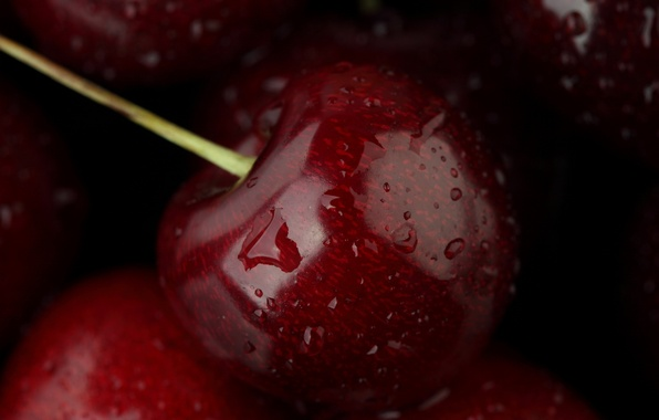 Picture water, drops, macro, food, fruit, cherry, water, food, macro, fruit, 1920x1080, cherry, drops