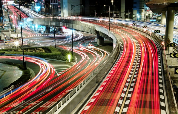 Picture light, night, bridge, the city, lights, Japan, road, excerpt, thread, fork