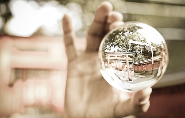 Picture glass, macro, reflection, ball, hand, glass, macro, 2560x1600, reflection, ball, hand