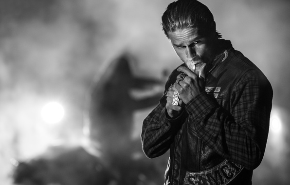 Picture cigarette, actor, black and white, male, the series, Charlie Hunnam, Sons of Anarchy, Jax, Charlie …