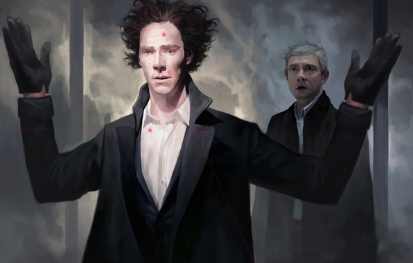 Picture hair, hands, art, Sherlock Holmes, detective, BBC, Benedict Cumberbatch, Sherlock, Sherlock, Sherlock Holmes, Martin Freeman