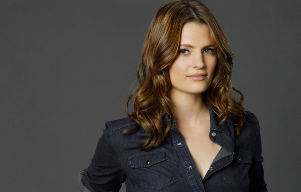 Picture actress, the series, shirt, grey background, Castle, Castle, Stana Katic, Kate Beckett, Mill CATIC, Kate …