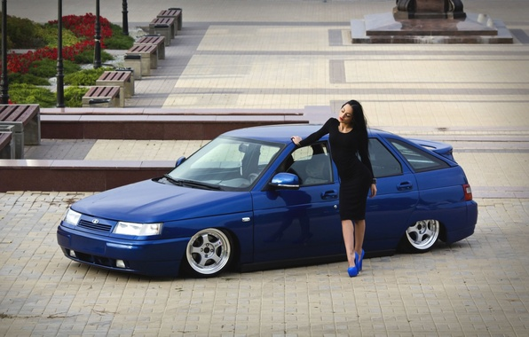 Picture girl, area, heels, Lada, Lada, 2112, VAZ
