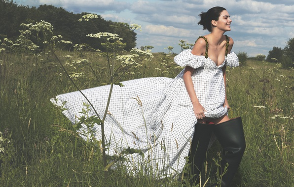Picture greens, field, summer, grass, the sun, clouds, trees, model, boots, makeup, dress, brunette, hairstyle, outfit, …