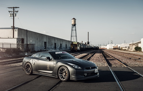 Picture black, rails, Nissan, GT-R, black, Nissan