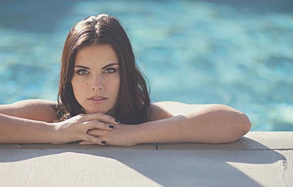 Picture girl, photo, pool, actress, beautiful eyes, Jaimie Alexander, Jaimie Alexander