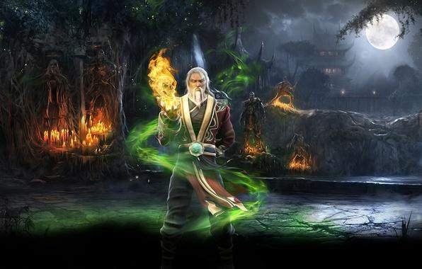 Picture forest, magic, mortal kombat, Shang Tsung